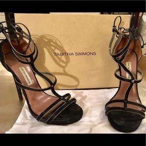 Tabitha Simmons Black Satin Dana Heels Size 37